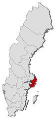 Map of Sweden, Stockholm County highlighted