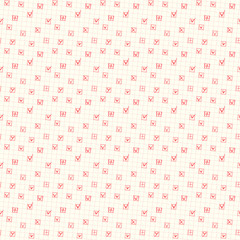 Seamless pattern of check boxes with red yes ticks