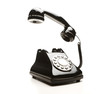 Retro telephone on white background