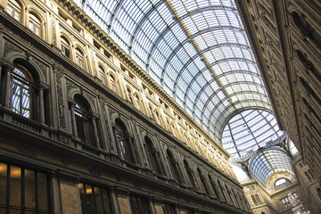 Gallery Umberto in Naples, Italy. Detail of the glass roof