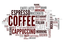 Coffee concept in word tag cloud on white background