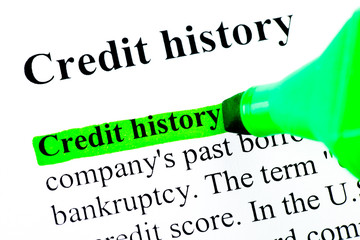 Credit history definition in green on white background