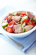 Tuna salad with cherry tomato, cucumber and beans