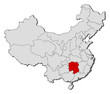 Map of China, Hunan highlighted