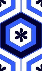 Mosaico hexagonal azul