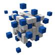 3D-Struktur aus blauen und weissen Blocks