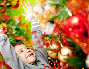 Excited boy enjoying Christmas
