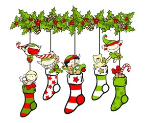 Christmas stockings filled with presents and elves