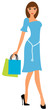 Young elegant woman in blue dress with shopping bags