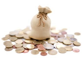 sac de banque argent monnaies