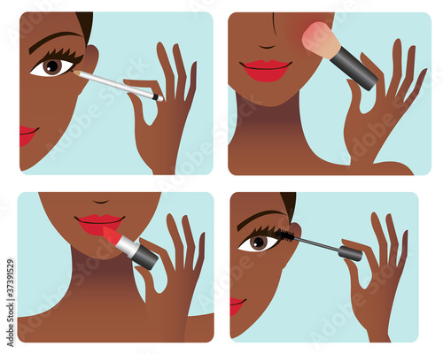 Makeup application process
