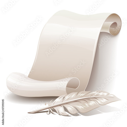 Paper scroll with feather