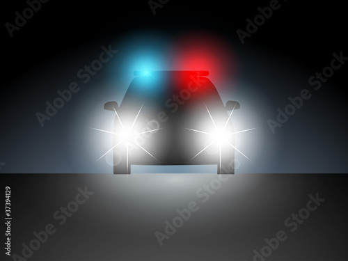 Police car in the dark with the included headlights