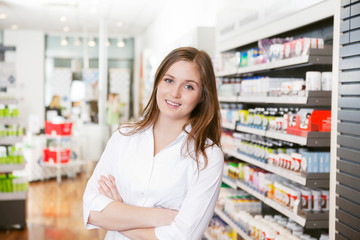 Female Pharmacist at Pharmacy Store