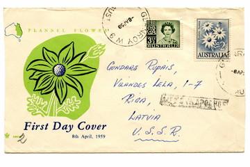 "Vintage australian cover ""Flannel Flower (Actinotus helianthi)"""