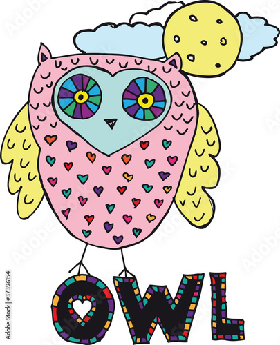 drawing of an owl. vector illustration - 37396154
