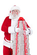 Santa hugging big  gift boxes