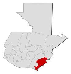 Map of Guatemala, Jutiapa highlighted