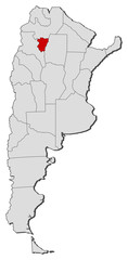 Map of Argentina, Tucumán highlighted