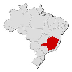 Map of Brazil, Minas Gerais highlighted