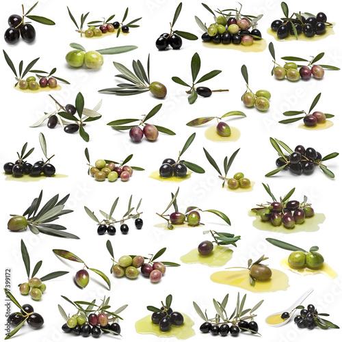 Gran colección de olivas aisladas sobre fondo blanco.