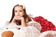 Beautiful little girl in red evening dress