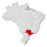 Fototapety Map of Brazil, São Paulo highlighted