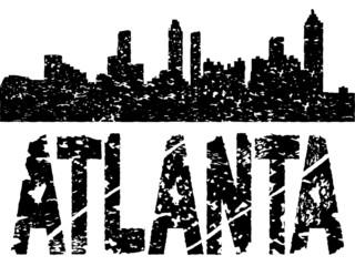Grunge Atlanta skyline with text illustration