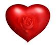 Rotes Herz mit Rose