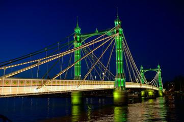 Albert Bridge, River Thames, London, England, UK, night