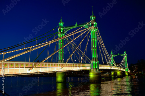 Albert Bridge, River Thames, London, England, UK, night