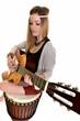 femme avec guitare isolé