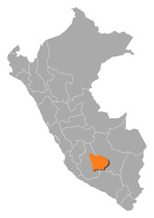Map of Peru, Apurímac highlighted
