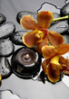 burning candle and zen stones with orange orchid