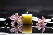burning candle and zen stones with pink orchid