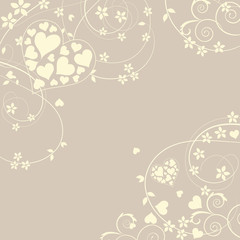 Soft and pretty love background with swirls and flowers