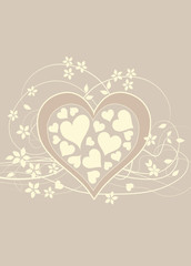 Soft and pretty beige love background with heart