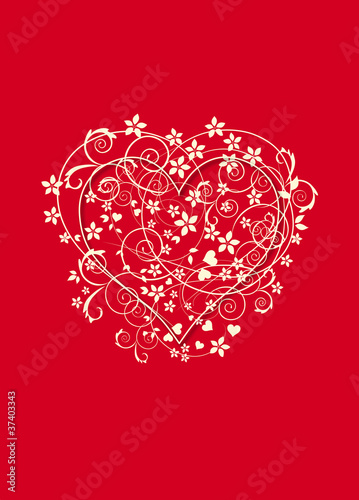 Beautiful red and creamy background with love heart