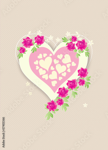 Beautiful retro love heart with pink roses