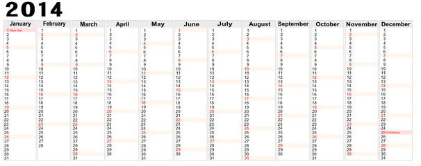 calendar 2014 with note space,vector image