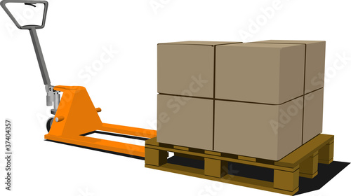 Boxes on hand pallet truck. Forklift. Vector illustration