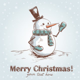 Hand drawnchristmas card with smiling snowman