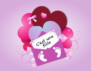 Carte de naissance pour bébé fille