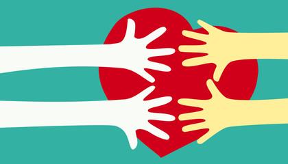 Hands together over heart