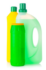 House cleaning supplies. Plastic bottles with detergent