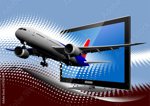 Blue dotted background with Flat computer monitor with passenger