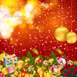 christmas background with baubles and christmas elements