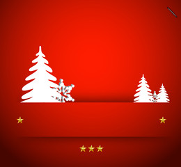 Vector christmas snowflake and simple tree