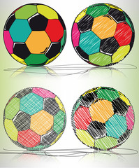 soccer ball sketch, vector illustration
