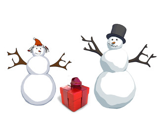 happy snowman and  snow woman with gift box